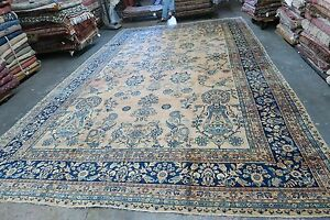 Antique India Ocm Agra Lavar Kerman Handmade Wool Blue Gallery Rug 10 8 X 17 8