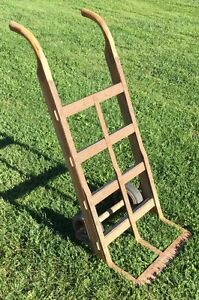 Old Vtg Antique Nutting Free Wheeling Iron Wood Industrial Shipping Crate Cart