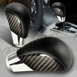 Vip Real Carbon Fiber Pvc Leather Manual Mt Gear Shift Shifter Knob Universal 4