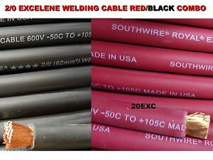 12 2 0 Excelene Welding Cable 6 Ft Red And 6 Ft Black Usa Made 105 Epdm Jacket