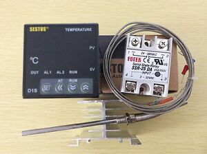 Digital Pid Temperature Controller D1s vr 220 25a Ssr 2m K type Probe heat Sink