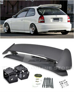 For 96 00 Civic 3dr Type R Rear Spoiler W Adjustable Black Alex Tilt Brackets