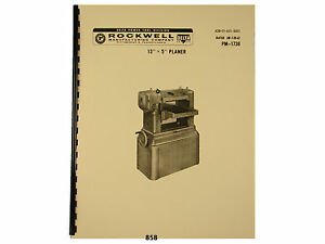 Delta Rockwell 13 x5 Wood Planer Instruction Parts Manual 858