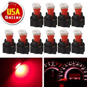 10x Pc74 T5 Instrument Panel Gauge Cluster Red Led Light Bulb Twist Socket