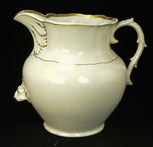 Large Antique Victorian Porcelain White W Gold Gilt Water Pitcher Jug Rare L5z