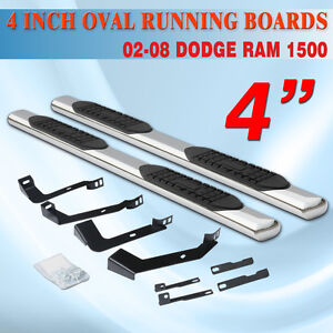 For 02 08 Dodge Ram 1500 Quad Cab 4 Running Board Side Step Nerf Bar Oval Ss