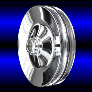 Chrome 2 Groove Power Steering Pulley Fits Chevy Small Block 327 350 400 Keyway