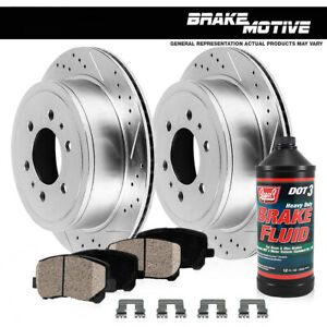 Rear Drill Slot Brake Rotors And Ceramic Pads For Escalade Chevy Silverado Yukon