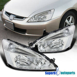 Fit 2003 2007 Honda Accord Jdm Headlights Signal Lamps Chrome W Clear Reflector