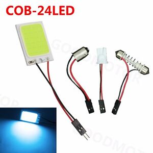 1x Ice Blue 24cob Led Panel Light For Car Interior Door Trunk Map Dome Bulb 12v