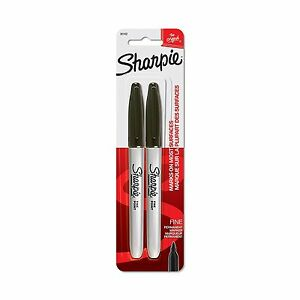 New Sharpie 2 Black Fine Point Permanent Markers 6 Pack