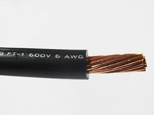 Mtw 6 Awg Gauge Black Stranded Copper Sgt Primary Wire 50 Ft