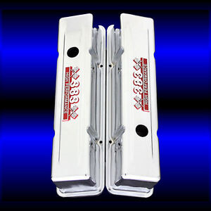 Chrome Sbc Tall Valve Covers For Small Block Chevy 383 Stroker Engine 383 Emblem