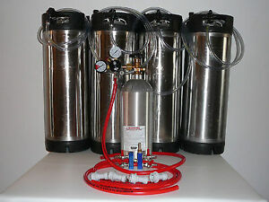 Home Brewing Four Picnic Tap Basic Kit With Pin Lock Corny Kegs