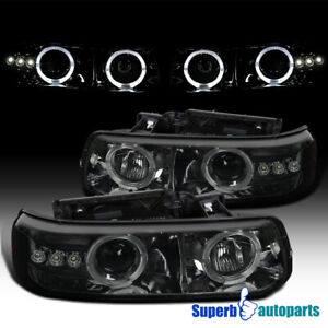 For 1999 2002 Silverado Led Dual Halo Projector Headlights Head Lamps Smoke