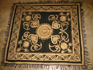 Vintage Turkish Ottoman Wall Hanging Silk Metallic Hand Embroidered Textile
