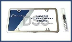 New Genuine Mercedes License Plate Frame Polished Stainless Steel Oem Q6880124