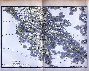 Original Full Color 1890 Antique Map Greece