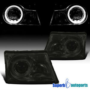 For 1998 2000 Ford Ranger Smoke Projector Headlights Lamps W halo Ring
