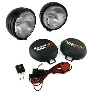 Rugged Ridge 15205 52 5 Round Hid Off Road Fog Light Kit W Black Steel Housing