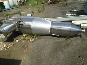 Stainless Cyclone Dust Collector 14 Flanged Inlet outlet 3 Cone End 9 Tall