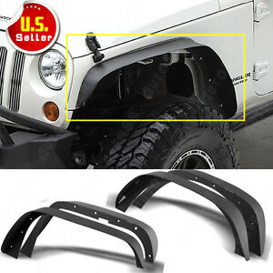 4x Black Powder Coated Flat Fender Flares For Jeep Wrangler Jk Front