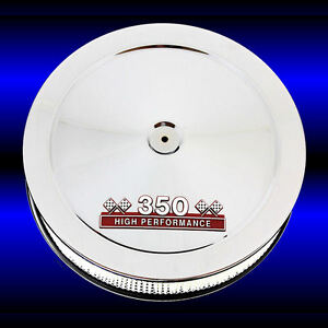 Air Cleaner Sbc 350 Chrome For Small Block Chevy 350 Engines With Red 350 Emblem