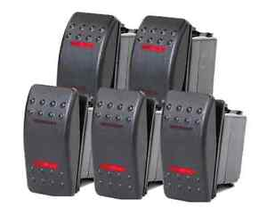 5 Pcs Marine Boat Rv Rocker Switch On off on Dpdt 7 Pin 2 Red Led Trailer
