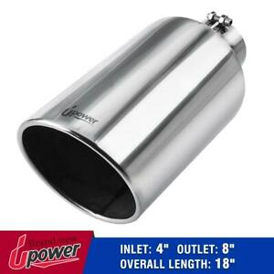 4 Inlet 8 Outlet 18 Long Stainless Steel Diesel Exhaust Tip Pipe Bolt On