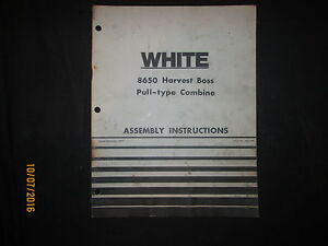 White 8650 Pull Type Combine Assembly Instructions Manual Book Original Dec 1977