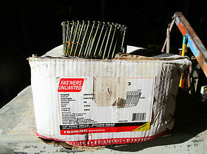 Fasteners 4089 Framing Gun Pneumatic Coil Nails Wire Weld 15 Degree 2 3 8 X 113