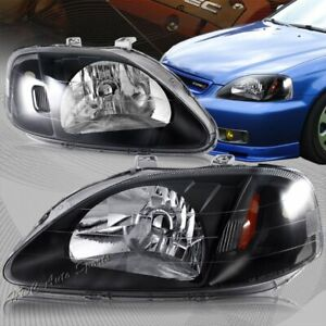 For 1999 2000 Honda Civic Jdm Black Housing W Amber Reflector Headlight Lamps
