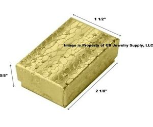 400 Small Gold Foil Cotton Filled Jewelry Gift Boxes 2 1 8 X 1 1 2 X 5 8