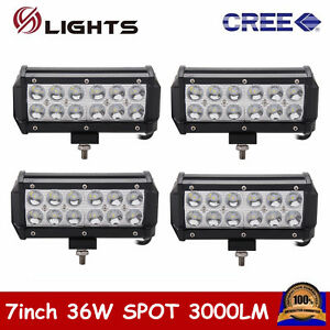 4x 7in 36w Spot Beam Cree Led Work Light Bar Offroad Lamp Driving Suv Truck Usa
