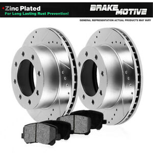 Rear Drilled Slotted Brake Rotors And Metallic Pads Excursion F250 F350