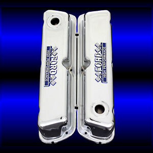 Chrome Small Block Valve Covers With Ford Emblems For 260 289 302 351 W Ford