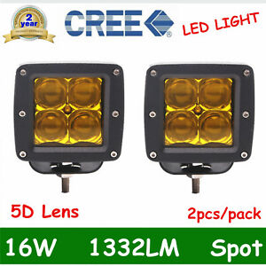 2x 3 16w Cree Led Work Light Offroad Driving 5d Lens Cube Pods Yellow Flood Of