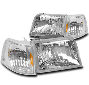 93 97 Ford Ranger Truck Headlight W corner Turn Signal Lamp Chrome 94 95 96 4pcs