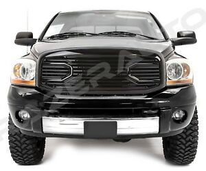 Front Gloss Black Big Horn Grille Replacement Shell For 06 09 Dodge Ram 2500 350