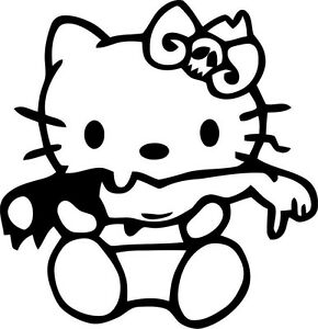 Hello Kitty Zombie Halloween Decal Free Shipping 6 Inch For Indoor Outdoor