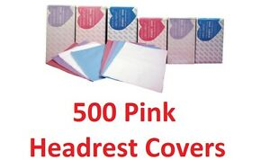 500 Headrest Covers Disposable Dental Tattoo Pink Tissue Poly Winner 10x10