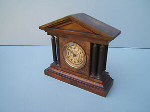 Vintage Walnut Small Mantel Clock Service New Mainspring Working Beautiful M11