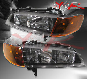 1994 1997 Honda Accord Sir Jdm 4pc Crystal Black Headlights Amber Corner Lamps