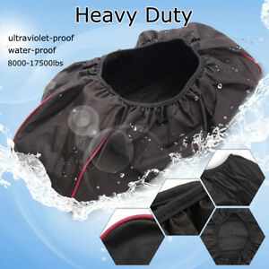 Black Waterproof Soft Winch Dust Cover 600d Driver Recovery 8 000 17 500 Lbs