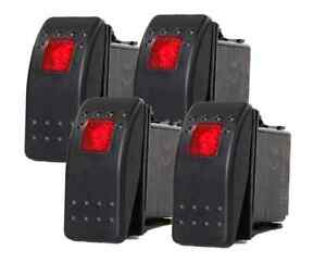 4 Pcs Marine Boat Trailer Rv Rocker Switch On Off Spst 3 Pin 1 Red Led Auto