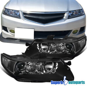 2004 2005 Acura Tsx Headlights Projector Head Lamp Jdm Black