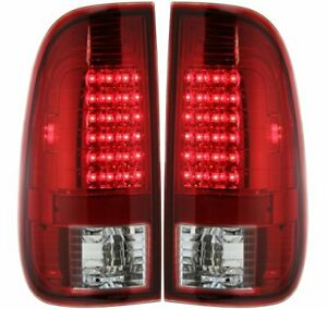 Pair Led Tail Light For 97 03 Ford F 150 99 07 F 250 Super Duty Clear red Lens