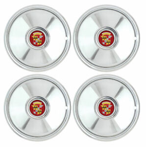 Chrome 16 Caddy Cadillac Sombrero Hubcap Set Of 4