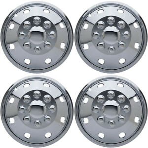 4 Pc Set 16 8 Lug Rv Dual Chrome Simulators Skin Hub Cap Steel Wheel Rim Covers