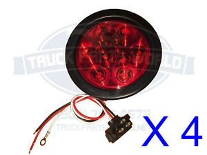 4 Red 10 Led 4 Round Truck Trailer Brake Stop Turn Tail Lights 12 24v